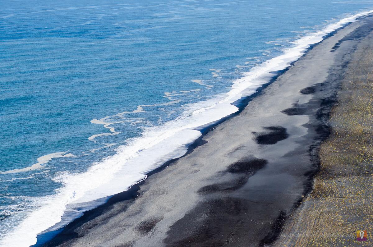 Plaża islandzka, widok z półwyspu Dyrholaey