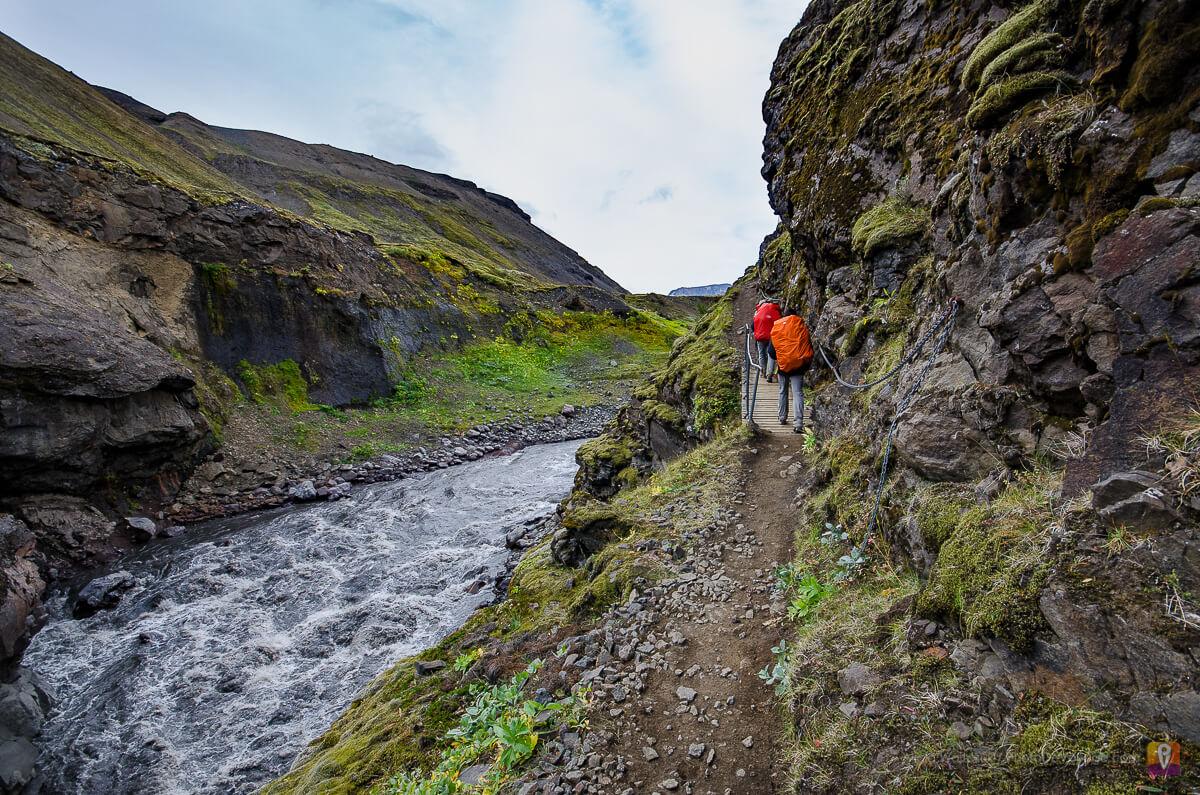 Trek Laugavegur przejście wdłuż rzeki