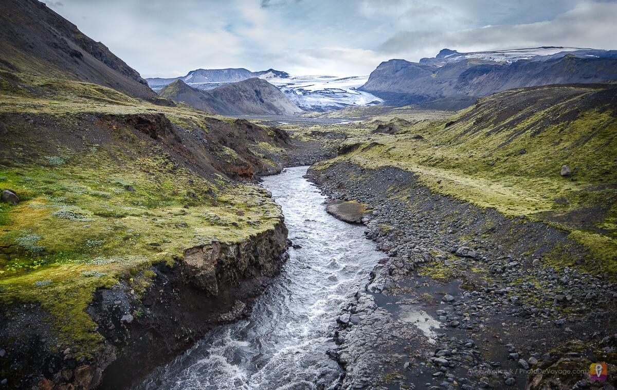Islandia trek Laugavegur lodowiec Mýrdalsjökull i kanion Markarfljótsgljúfur