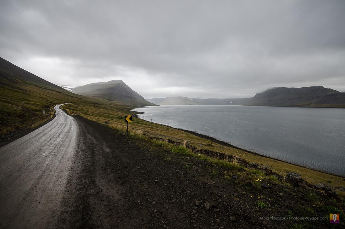 Droga wzdłuż fiordu Westfjords Islandia