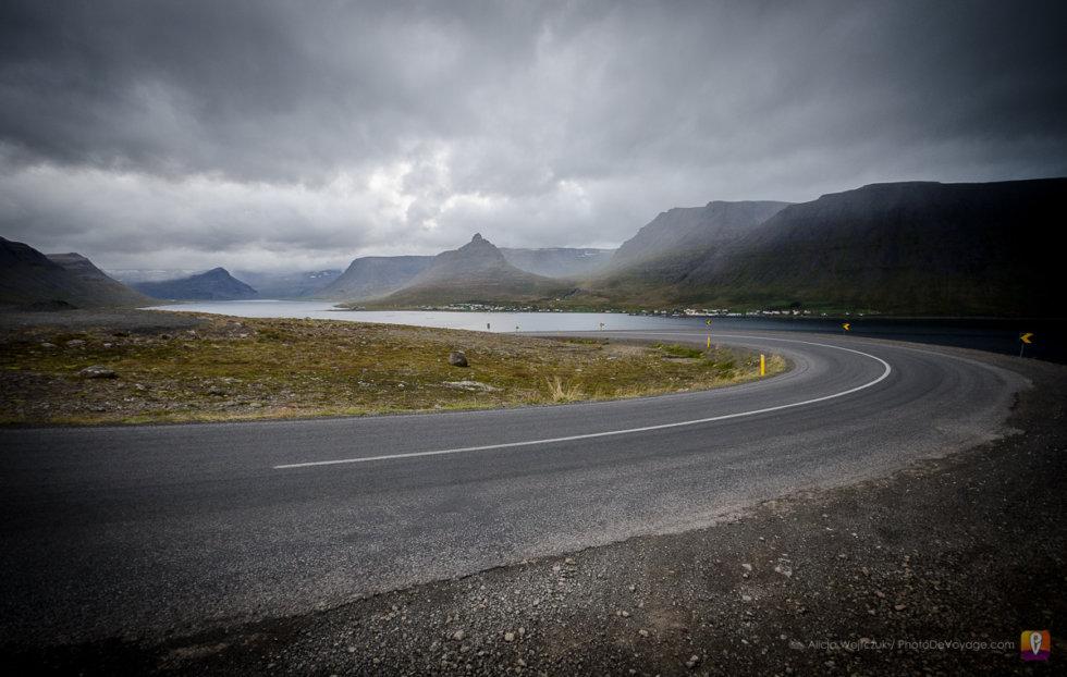 Droga przez fiordy Westfjords Islandia