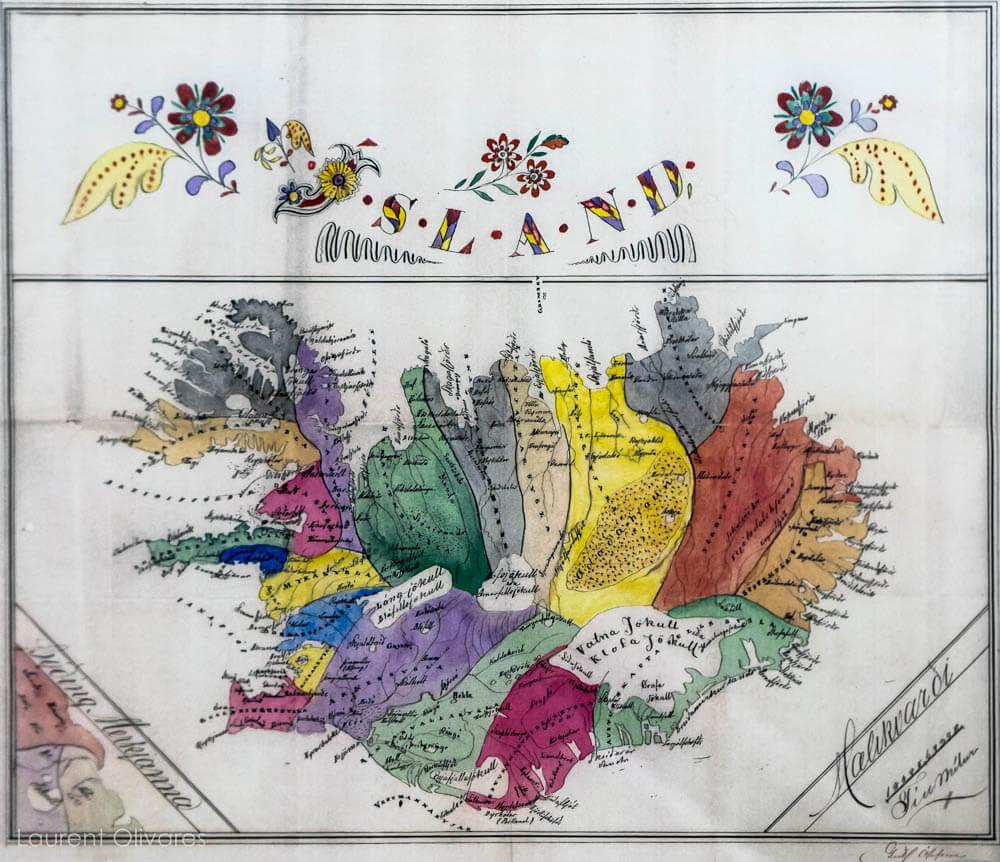Carte d'Islande colorée