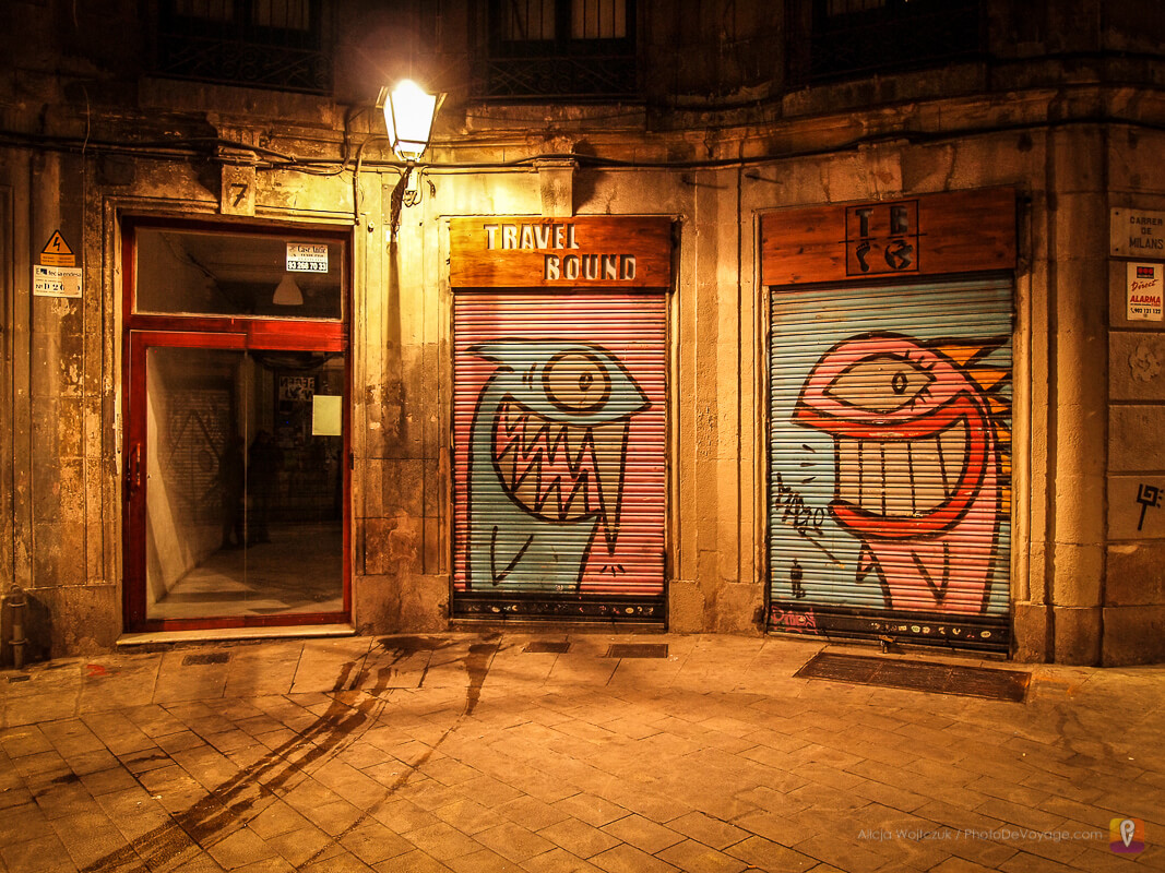 Nocny plac w Barcelonie