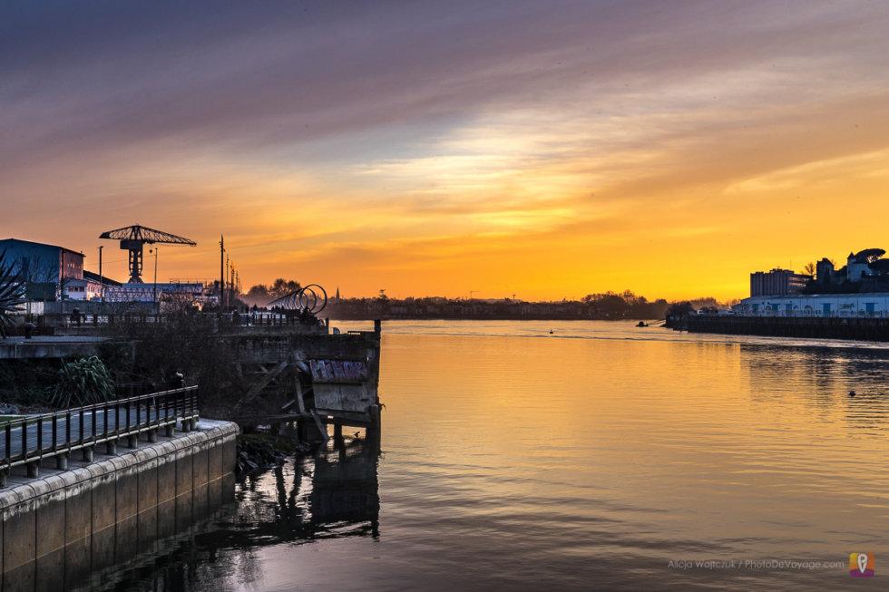 Le coucher de soleil sur la Loire à Nantes